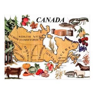 Carte du Canada et des divers produits Carte Postale