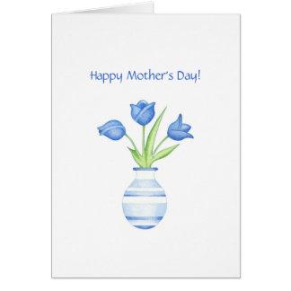 Carte du jour de mère de tulipes bleues