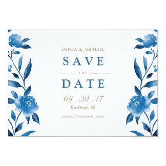Carte Économies florales bleues de mariage de