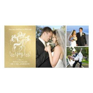 Carte élégante de collage de photo de Noël d'or de Cartes De Vœux Avec Photo