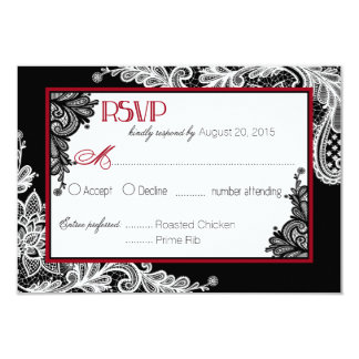 Carte élégante de la dentelle noire et blanche carton d'invitation 8,89 cm x 12,70 cm