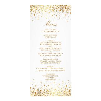 Carte élégante de menu de mariage de confettis de double carte