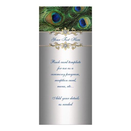 Carte élégante de support de paon de vert vert modèle de carte double
