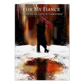 Carte élégante de vacances de Noël de fiancé avec