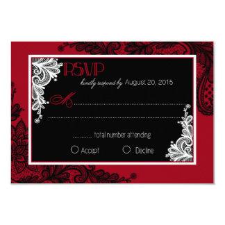 Carte élégante rouge de la dentelle blanche et carton d'invitation 8,89 cm x 12,70 cm