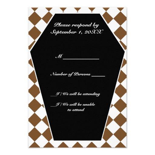 Carte ene ivoire de Damier (Brown) RSVP Invitation Personnalisée