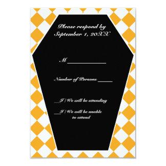 Carte ene ivoire de Damier RSVP (ambre) Carton D'invitation 8,89 Cm X 12,70 Cm