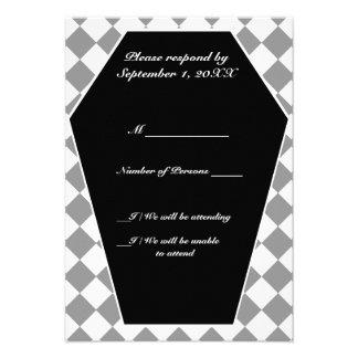 Carte ene ivoire de Damier RSVP (gris) Invitations Personnalisables