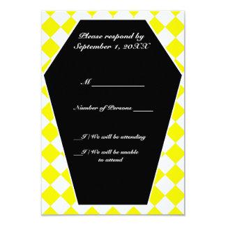 Carte ene ivoire de Damier RSVP (jaune) Carton D'invitation 8,89 Cm X 12,70 Cm