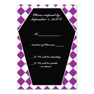Carte ene ivoire de Damier RSVP (pourpre) Carton D'invitation 8,89 Cm X 12,70 Cm
