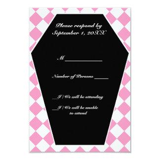 Carte ene ivoire de Damier RSVP (rose) Carton D'invitation 8,89 Cm X 12,70 Cm