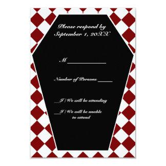 Carte ene ivoire de Damier RSVP (rouge) Carton D'invitation 8,89 Cm X 12,70 Cm