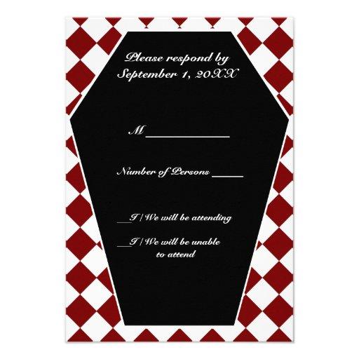 Carte ene ivoire de Damier RSVP (rouge) Invitation Personnalisée
