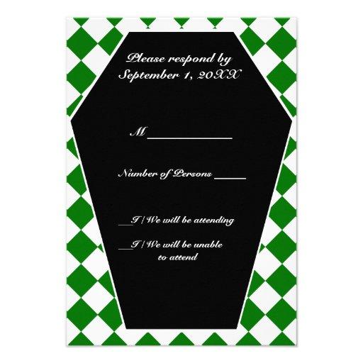 Carte ene ivoire de Damier RSVP (vert) Invitations Personnalisées
