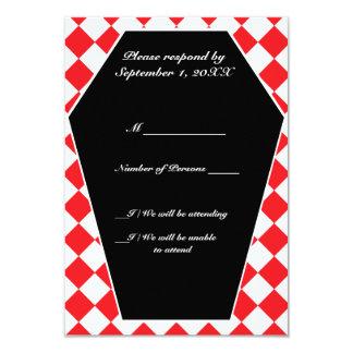 Carte ene ivoire de Damier (rubis) RSVP Carton D'invitation 8,89 Cm X 12,70 Cm
