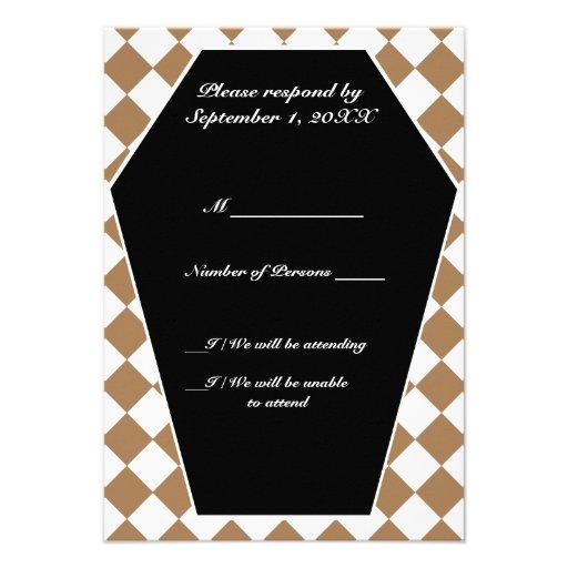 Carte ene ivoire de Damier (Tan) RSVP Cartons D'invitation