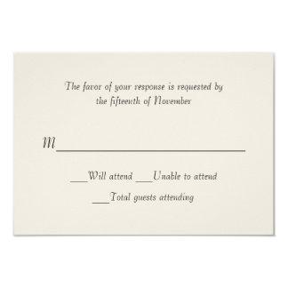 Carte ene ivoire de réponse de mariage carton d'invitation 8,89 cm x 12,70 cm