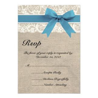 Carte ene ivoire et bleue du regard RSVP de dentel Invitation Personnalisée