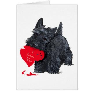 Carte espiègle de Terrier Valentine d écossais