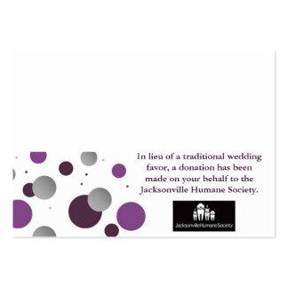 Carte et couvert de faveur de charité de mariage cartes de visite personnelles