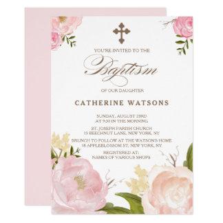 Carte Fleurs romantiques d'aquarelle et baptême croisé