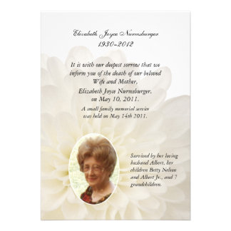Carte florale blanche de faire-part de la mort de
