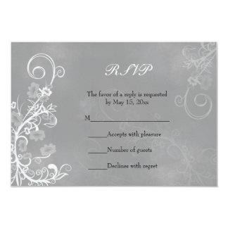 Carte florale blanche élégante de RSVP - couleur Carton D'invitation 8,89 Cm X 12,70 Cm
