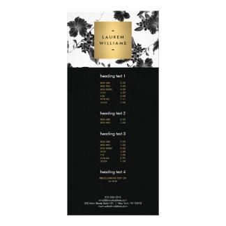 Carte florale noire élégante de support du motif 4 doubles cartes