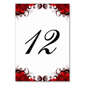 Carte florale rouge et blanche de nombre de