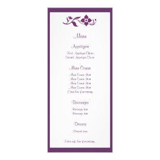 Carte florale violette de support de menu de carte double customisable