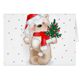 carte fraîche mignonne d'ours de nounours de Noël