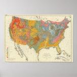 Carte géologique des USA Posters