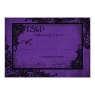 Carte gothique de la dentelle pourpre et noire carton d'invitation 8,89 cm x 12,70 cm