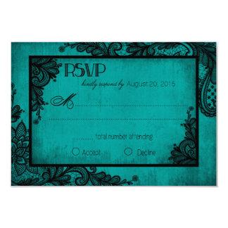 Carte gothique de la dentelle turquoise et noire carton d'invitation 8,89 cm x 12,70 cm
