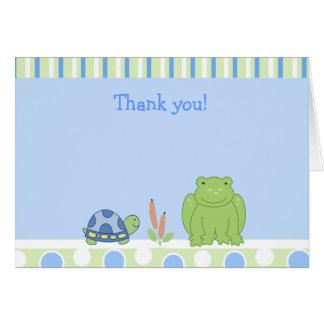 Carte Grenouille amicale et note de Merci pliée par
