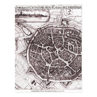 Carte historique de Nordlingen, Allemagne en 1651 Carte Postale