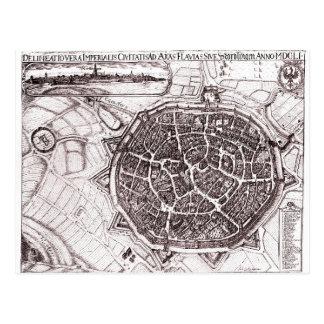 Carte historique de Nordlingen, Allemagne en 1651 Cartes Postales