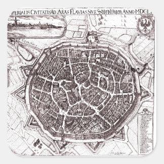 Carte historique de Nordlingen, Allemagne en 1651 Sticker Carré