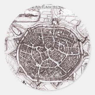 Carte historique de Nordlingen, Allemagne en 1651 Sticker Rond