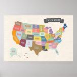 """Carte illustrée de l'Amérique 24 x 36"""" affiche de"""