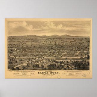 Carte imagée vintage de Santa Rosa CA (1876)