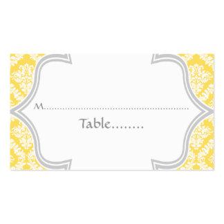 Carte jaune citron et grise d'endroit de mariage carte de visite standard