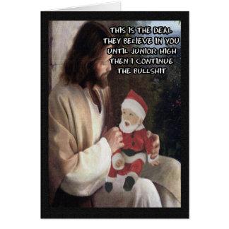 Carte Jésus drôle et Père Noël