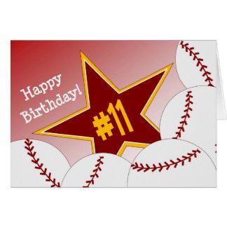 Carte Joyeux 11ème anniversaire, étoile du base-ball !