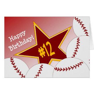 Carte Joyeux 12ème anniversaire, étoile du base-ball !