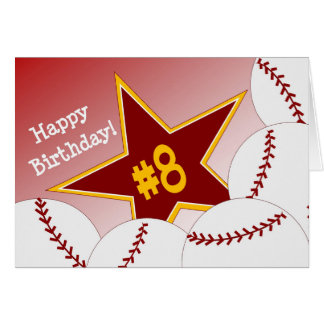 Carte Joyeux 8ème anniversaire, étoile du base-ball !
