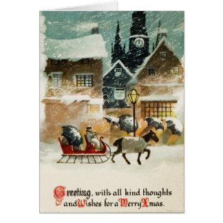 Carte Joyeux Noël victorien vintage démodé 13