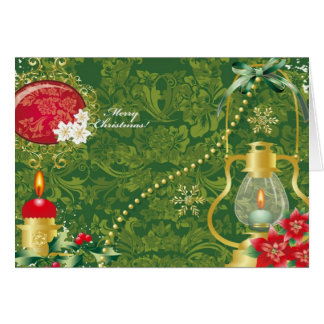 Carte Lanterne démodée de Noël