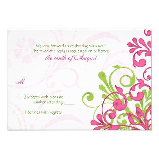 Carte l'épousant florale de l'abrégé sur vert rose invitations