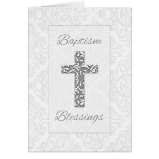 Carte Les bénédictions de baptême, croix avec la damassé